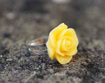 Yellow Rose Flower Adjustable Ring