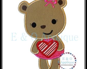 Valentines Bear Applique Design - Valentines Applique Design - Bear Applique Design - Valentine's Embroidery Design, Heart Embroidery Design
