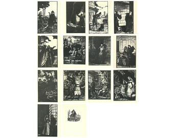 Shakespeare, Set of 14 Postcards, Illustration, Etching, Unused Postcard, Soviet Postcard, Soviet Union, USSR, 1963