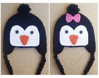 Crochet Penguin Hat W/Without Bow Boy or Girl