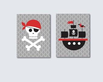 Boys Pirate Nursery Print, Pirate Ship Nursery Art Print 642