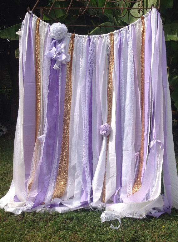 Items Similar To Lavender Backdrop Gold Sequin Rag Curtain Fabric Garland Sparkle Wedding