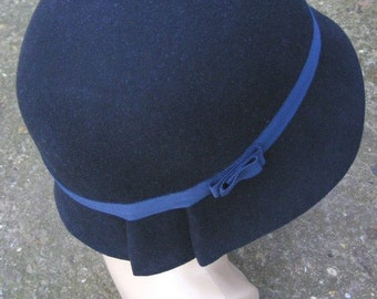 Navy Blue Cloche Hat - Made to Order