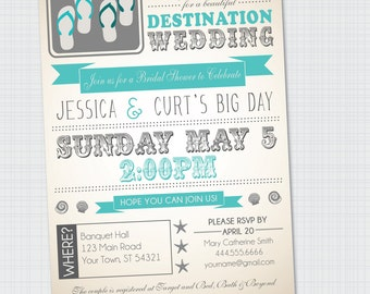 Beach | Destination Wedding | Bridal Shower Invitation {Digital Invitation} Printable