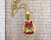 Owl - Royal bird With fabulous Colorful Ethnic / Folk Colorful Colors - Pink & Gold Cameo Charm Pendant Statement Collar Necklace -Gift Idea