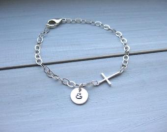 Sterling Silver Cross Bracelet Personalized Bracelet Religious Jewelry Confirmation Gift Communion Gift Confirmation Jewelry Custom