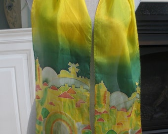 Hand Painted Silk Scarf By Y. Karshi