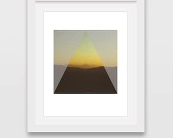 Sunset Print, Sunset Wall Art, Yellow Print, Triangle Art, Sunset Photography, Minimalist Print, Sunset Decor, Yellow Home Decor, Wall Print