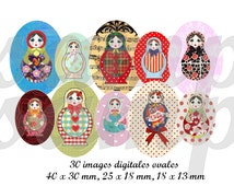 Digital collage sheet, russian doll image, babouchka, matriochka, oval image, oval size, bottle cap,printable image, instant download