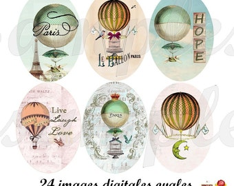 Digital collage sheet hot air balloon, digital images,  oval size, digital oval, printable image, instant download