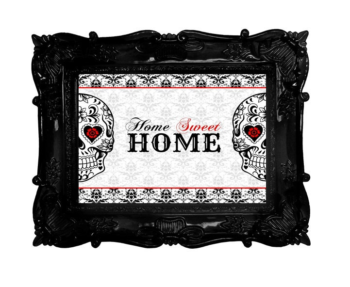 Sugar skull art home decor welcome home sweet home sign red for Skull home decor