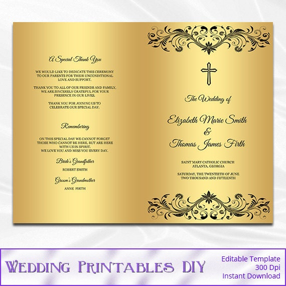 items similar to catholic wedding program template diy black and gold foil cross ceremony. Black Bedroom Furniture Sets. Home Design Ideas