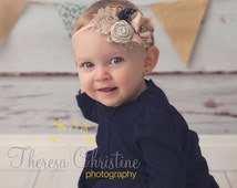 Beige and navy vintage inspired headband with pearls, birdcage netting and lace. Signature Collection*. photo prop. first birthday