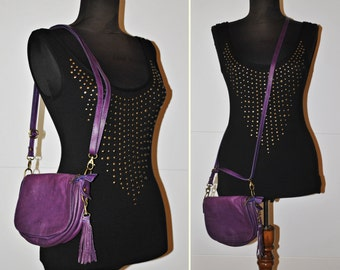 Genuine Leather Purse - Purple Leather Handbag - Womens shoulder Bag - made in Italy - colour blocking