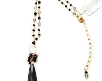 Black Swarovski Crystals & Faceted Cz Necklace in 14k Gold Fill - 510 SM
