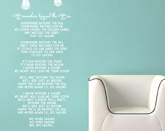 Wall Vinyl Decal Somewhere Beyond the Sea song lyrics by Bobby Darin + Boats and Seagulls