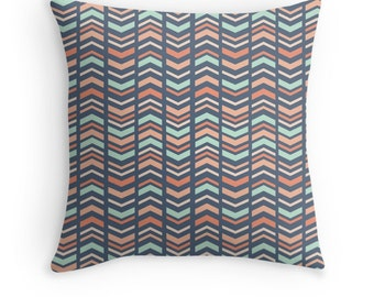 Mint, Coral, Blue Tribal Decorative Pillow Cover, Arrow Pattern, Ethnic, Available in sizes 16x16, 18x18, 20x20, 24x24, 13x20