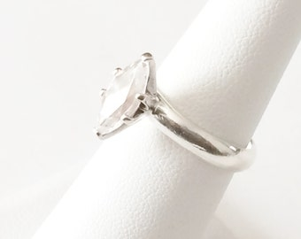 Size 7 Sterling Silver And 2ct Marquise Cubic Zirconia Ring