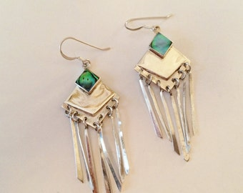 Sterling Silver And Abalone Dangle Earrings