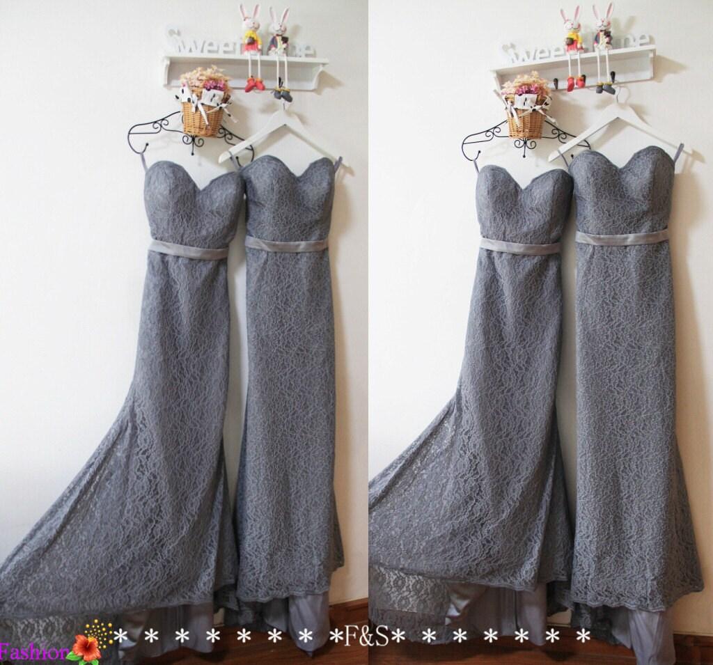 Charcoal Grey Lace Bridesmaid Dress y Mermaid Grey Evening