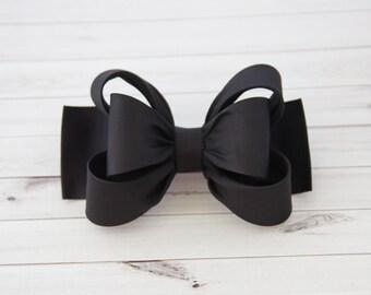 Black Hair Clip, Black Bow Hair Clip, Bow Hair Clip, Toddler Gold Hair Clip, Girls Bow Hair Clip, Big Bow Hair Clip, 984