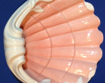 Vintage Fitz and Floyd Clam Shell Vanity Bowl Dated 1976, Wrapped Candies, Jewelry, Small Trinkets