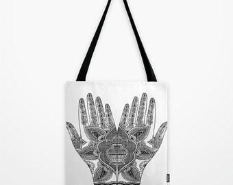 Mehndi Hands Tote Bag - Hindu Print Tote Bag - Book Bag - Eco-friendly Bag - Shopping Bag - Graphic Tote