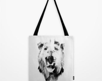 Lion Tote Bag - Lion and Butterfly Tote Bag - Book Bag - Eco-friendly Bag - Shopping Bag - Graphic Tote