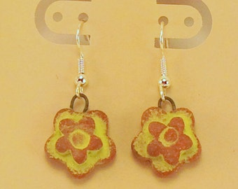 Handmade Stoneware Chartreuse Flower Earrings