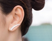 Long Curve Bar Ear Cuff, Minimalist Design Ear Sweep, Horn Earrings, Sterling Silver Ear Jacket, Bar Cuff Earrings, Curved Bar Ear Climbers