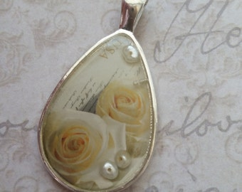 Postage Stamp Pendant, Rose Pendant, Bridesmaid Gift