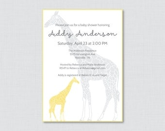 Giraffe Baby Shower Invitation Printable - Giraffe Baby Shower Invites in Yellow and Gray, Gender Neutral Baby Shower Invitation - 0011-Y
