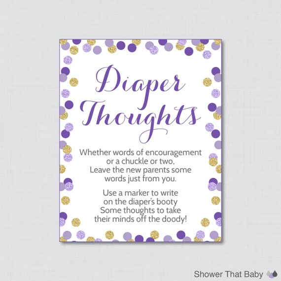 printable purple and gold glitter baby shower diaper thoughts game