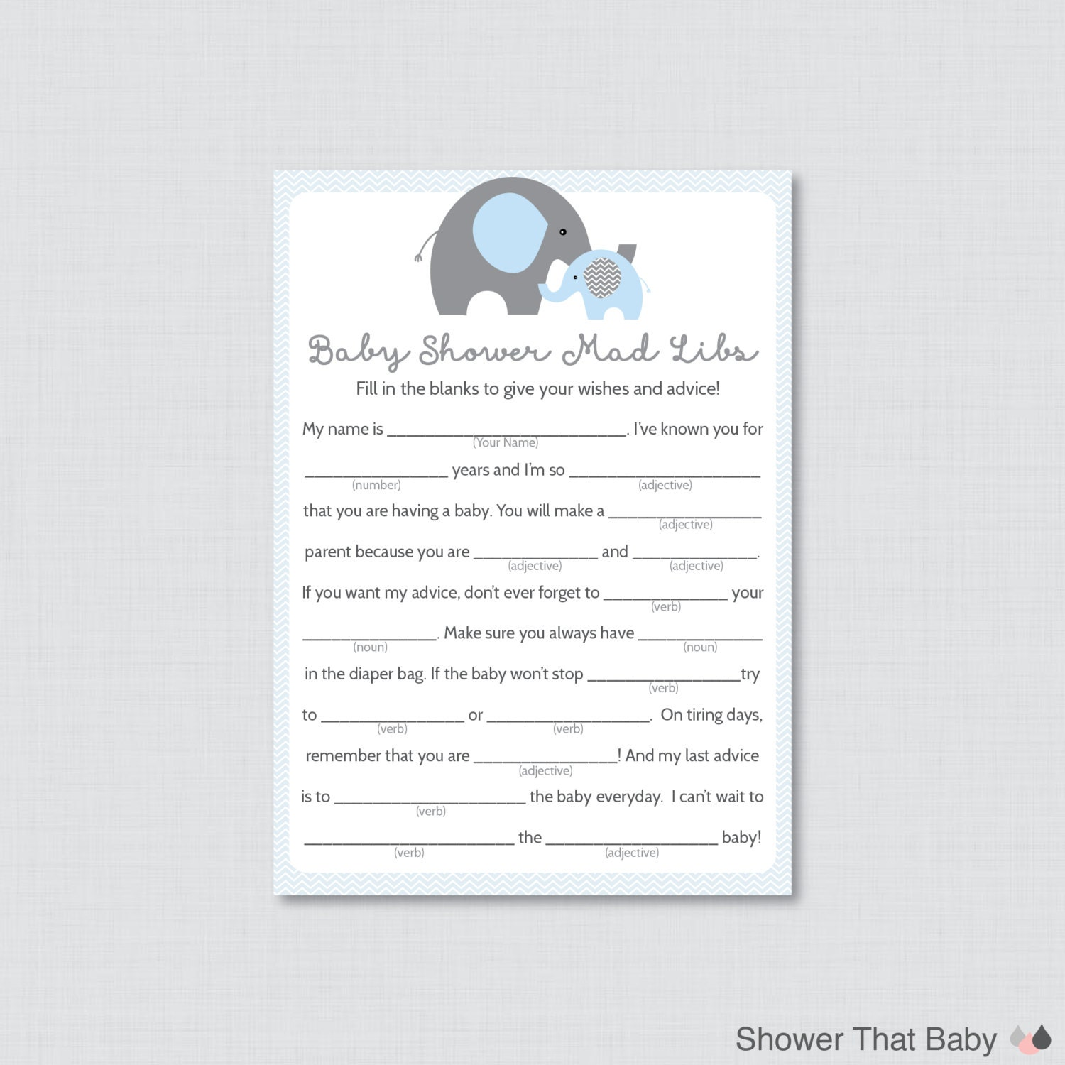 Elephant baby shower mad libs printable baby shower advice zoom pronofoot35fo Image collections