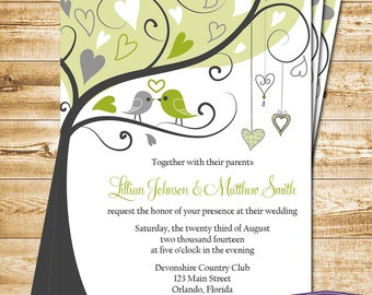 Love Birds Wedding Invitation - Gray and Green Lovebirds Invite Wedding Invitation - 6058 PRINTABLE
