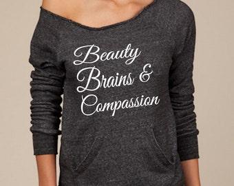 Off the Shoulder Eco Friendly Eco Black Sweatshirt –  Beauty Brains & Compassion