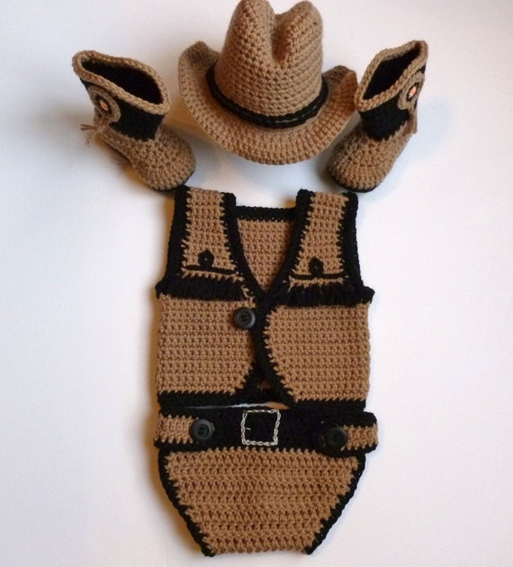 Free Crochet Pattern Cowboy Vest : Baby Boy Crochet Taupe Cowboy Vest Diaper Cover Hat Boots