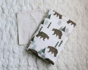 100% Organic Geometric Bears Stroller Blanket with Minky Backing