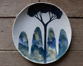 Ceramic side plate, Forest watercolour stoneware side plate,handmade painted plate, Australian Ceramics, pottery plate
