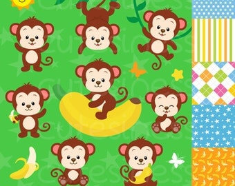 Monkey Digital Clipart, Monkey Clipart, Baby Monkey clipart, Monkey Boy clipart