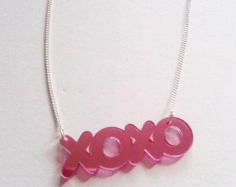 XOXO Kiss Hug Pink Mirror Necklace