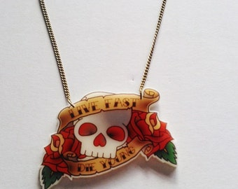 Live Fast Die Young Skull Rose Tattoo Necklace