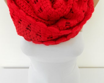 Red Infinity Scarf Ascot Neck Warmer Cozy Winter Scarf Circle Scarf Loop Scarf Christmas Gift Ideas For Her Women Fashion Accessories DERINS