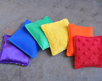 Sensory Rainbow Bean Bags - Set of 6 - A Montessori Inspired Baby Toy (C)