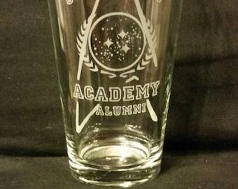 Star Trek Inspired Starfleet Academy Alumni Etched Pint Glass Star Trek Inspired Etched Glassware Funny Star Trek Enterprise Inspired