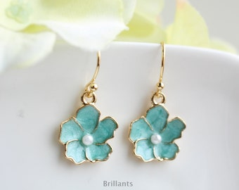 Mint Cherry blossoms earrings in gold, Mint flower earrings, Bridesmaid earrings, Everyday earrings, Wedding earrings