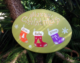 Merry Christmas sign, Personalized Christmas sign, Christmas decoration, New Year Sign, New Born Gift Sign, Baby Shower Gift Sign