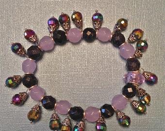 Bracelet, Blue Sandstone, Alexandrite, RainbowCrystals, Charms, Stretch