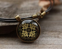 Slavic ornament necklace Pagan jewelry Medieval pendant OW31