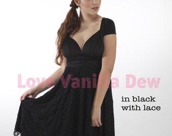 Bridesmaid Dress Infinity Dress Black Lace Knee Length Wrap Convertible Dress Wedding Dress